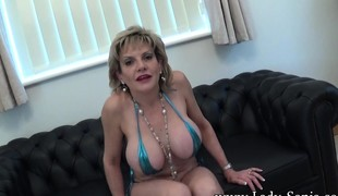 Big breasted housewife drops nearby will not hear of knees and worships a cock down POV