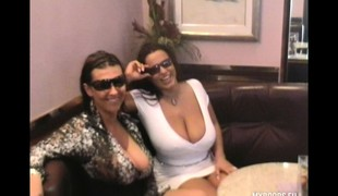 Hot babes Aneta and Kora moment their fine obese bosom chiefly the trip