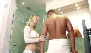Surprising blonde sweetie Angel Piaff gets nailed steadfast and well