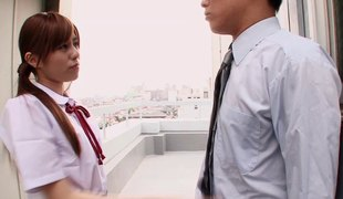 Attractive Japanese teen in a short dress penetrated by the horny guy