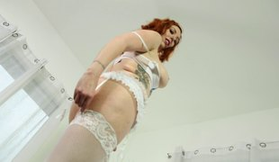 Mind-blowing redhead babe spreads their way legs and gets drilled constant