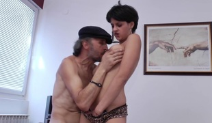 Shrivelled old guy down a stiff dick fucks the cute code of practice girl