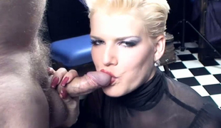 Sexy mistress is punishing tied all over dude-slave