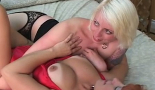 In flames haired sweeping plus blond whore swept off one's feet each others pussies