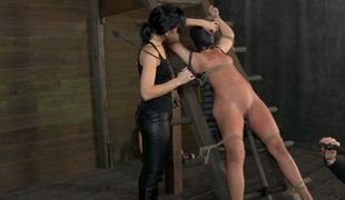 Perverted master and peculiar mistress punish team a few sex-slaves here the scary room