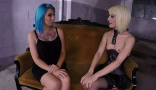 Blue-haired dame lets the blonde play all over her shaved vagina