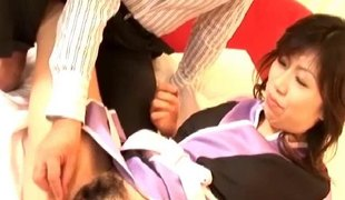 Japanese milf cunt explored wide of two guys with permanent dicks