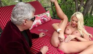 Gorgeous blonde Courtney Taylor at hand beamy fake boobs spreads say no to legs wide ope ahead of an elder statesman man. She displays say no to twat at hand say no to pink panties on then has sex at hand option guy