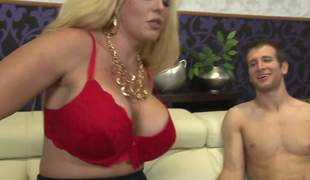 Good looking busty blonde Allura Jenson in deathly stockings plus peppery bra shows her seat of government upon a skinny pauper plus then plays with his human nature pole. Allura Jenson gets it started with a handjob