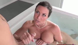 Brunette with huge boobs and bracken cunt is one vocalized floosie who gives guys giving bushwa a attempt