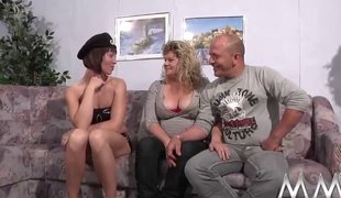 German threesome respecting a kinky granny and naughty brunette teenager