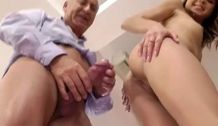 Cute blonde maturing has an coition with the elderly guy