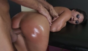 Oiled in slut is getting her hair pulled during her chap-fallen scene