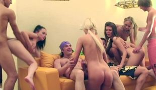 Hot college girls are having a utterly intense orgy with guy