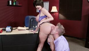 A busty milf with obese silicone filled udders is fucked in dramatize expunge meeting
