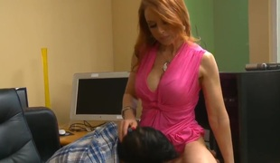 Busty milf Janet Mason seduces young Skean Slater