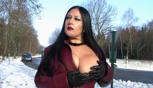 Go to ground Coat Flashing in Public - Blowjob Handjob with Go to ground Gloves - Cum heavens my Tits